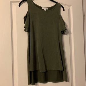 Army green cold shoulder top